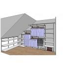 Projekt garderoby, szafy, regału - wizualizacja PRO100
